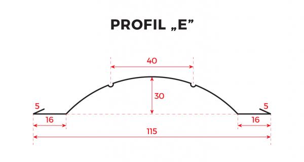 Sztachety metalowe powlekane – Profil E